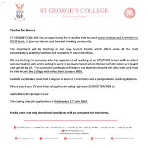 Junior Science and Chemistry to IGCSE Level Teacher Vacancy